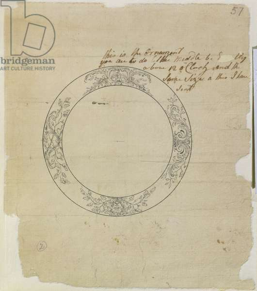 Design for a large enamel watch dial, from mechanical notes and drawings compiled by John Harrison (1693-1776) and his son William (c.1726-72) (pen & ink on paper)
