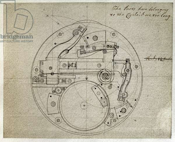 Drawing of the layout of the movement of the H4 timekeeper by John Harrison (1693-1776), c.1759 (pen and ink on paper)