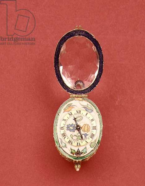Pocket watch with inner case of faceted rock crystal set in a white and green enamelled metal frame with floral enamel dial, movement by John Ramsay, British, c.1625 (enamelled metal) (see also 66854)