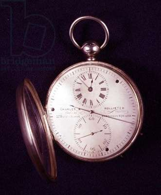 Silver pocket watch with silvered dial, centre seconds and independent seconds dial, by Charles & Hollister, English, 1850