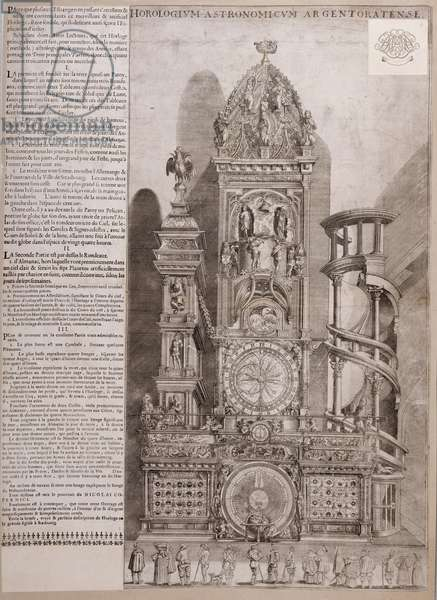 The Strasbourg Cathedral Clock (engraving on paper)