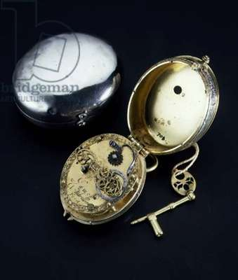 Engraved watch and case, made by James Vautrollier, London, 17th century
