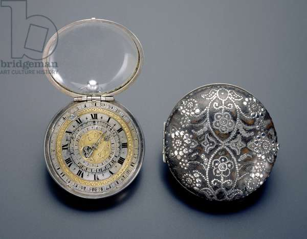 Watch and case, made by Henry Childe, 17th century (silver and leather with silver piquework)