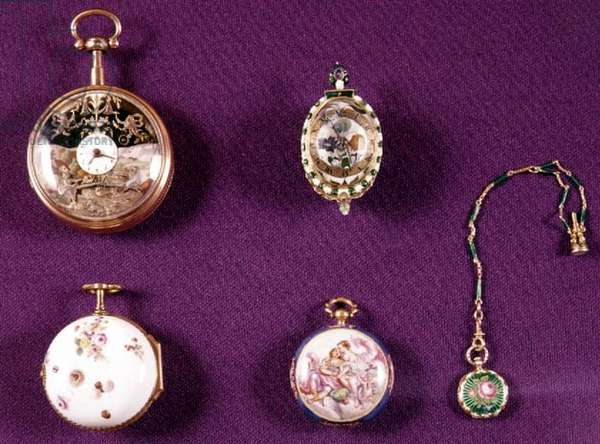 Selection of five 17th, 18th and 19th century European pocket watches, elaborately decorated with painted porcelain or cloisonne enamel, one with a seal ring on a chain (see also 66861)