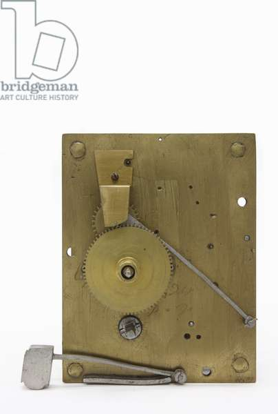 The front plate of the movement, with motion-work in place, from a table clock, c.1660 (wood & brass)