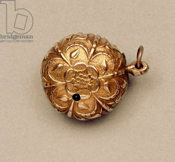Pocket watch, with silver-gilt case cast in the pattern of a Tudor rose, by William Clay, English, c.1640