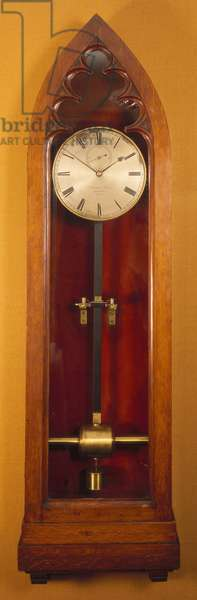 Electrically-driven clock with silvered dial in an oak case for wall-mounting, Scottish, by Alexander Bain (1810-77), c.1846-50