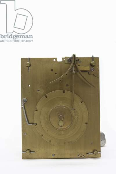 The back plate of the movement of a table clock, c.1660 (wood & brass)