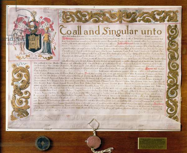 Ms 3970 Grant of Arms to the Clockmakers' Company, by Edward Walker, Garter King at Arms, 1671-72 (vellum)