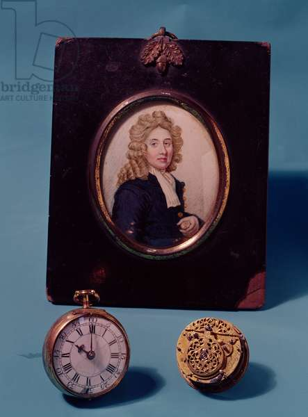 Miniature of Thomas Tompion (1639-1713) with a watch and a repeating movement, c.1700 (photo)