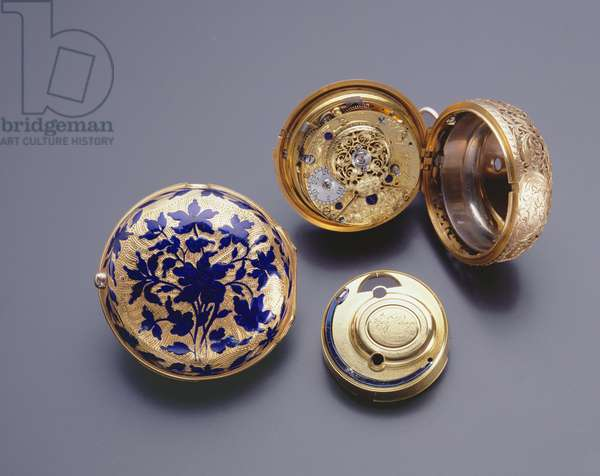 Pair-cased watch, made and signed by Thomas Mudge (1715-94) London, 18th century (gold and blue enamel)