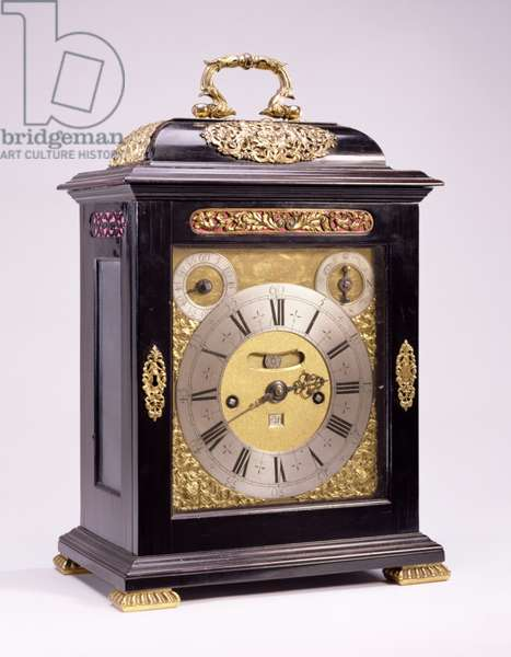 Table clock, signed by Thomas Tompion (1639-1713) London, c.1695 (ebony veneered oak case with gilt silver mounts)