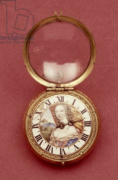 Pocket watch with white enamel chapter ring, bearing a portrait said to be of Anne Marie Louise d'Orleans, Duchess of Montpensier (1627-93), by Jean Hubert, c.1650 (metal gilt & enamel)