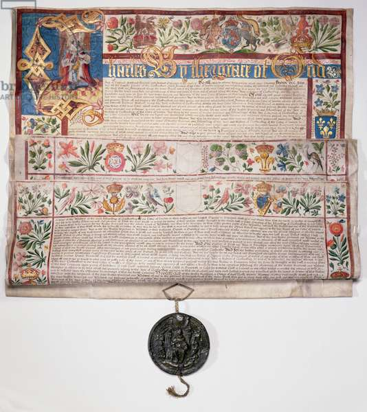 Ms 6430 The Clockmakers' Charter, granted by King Charles I on 22nd August 1631 (vellum)