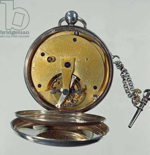 'Tourbillon' watch made by Abraham-Louis Breguet (1747-1823) in Paris, 1812 (silver case with enamel face) (see 86297 for face)
