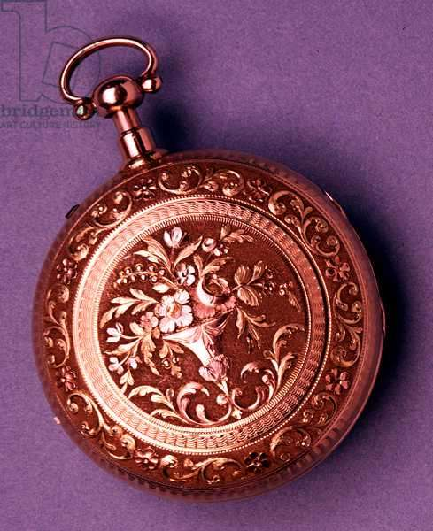 Gold pocket watch, hunter case in four-colour gold with chiselled floral ornament, English, by Brockbanks, 1812-13 (see also 66868, 66869 & 66870)