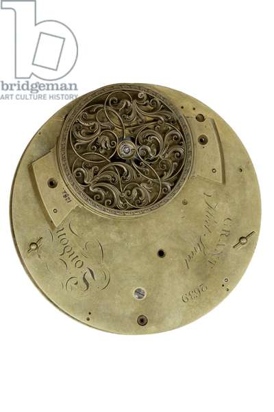 The back-plate of the Cumming Clock, c.1767 (metal)