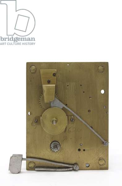 The front plate of a table clock, c.1660 (wood & brass)