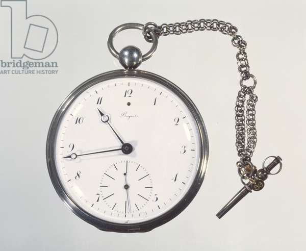 'Tourbillon' watch made by Abraham-Louis Breguet (1747-1823) in Paris, 1812 (silver case with enamel face) (see 86296 for movement)