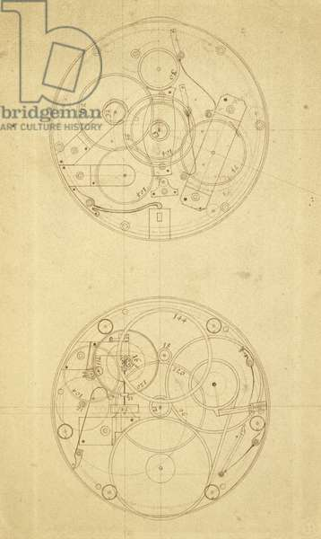 The movement of H.4, a longitude timekeeper designed and drawn by John Harrison, c.1760-72 (ink on paper)
