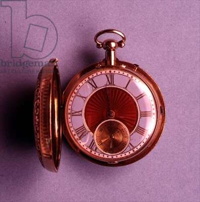 Pocket watch, gold hunter case, with translucent red enamel centre, the hour ring enamelled grey-blue, English, by Brockbanks, 1812 (see also 66867 and 66869)