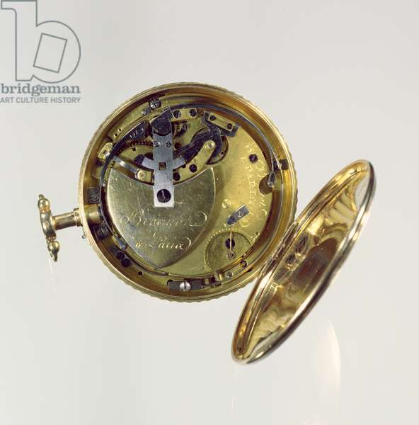 'Perpetuelle' watch made by Abraham-Louis Breguet (1747-1823) in Paris, 1783 (gold case with enamel face) (see 86299 for face)