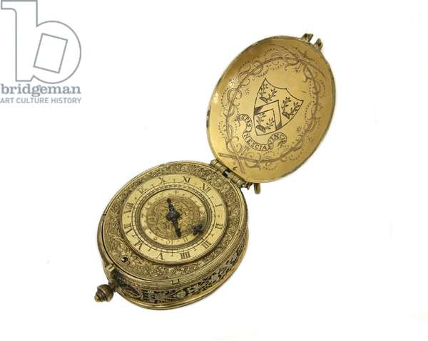 Oval watch, by Robert Grinkin, London, c.1625 (brass & gilt)