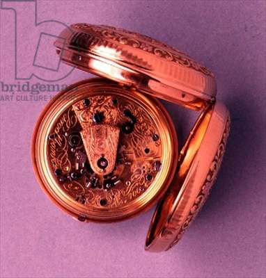 Pocket watch, gold hunter case, showing inner mechanism and maker's signature, English, by Brockbanks, 1812-13 (see also 66867 & 66868)