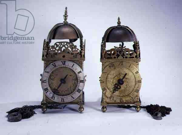 LtoR: Lantern clock made and signed by Peter Closon, Holborn Bridge, London, c.1655 and House clock made by Francis Forman, St. Paul's Gate, London, 17th century