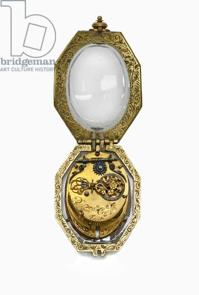 Octagonal rock crystal cased watch, by Richard Crayle, London c.1630 (mixed media)