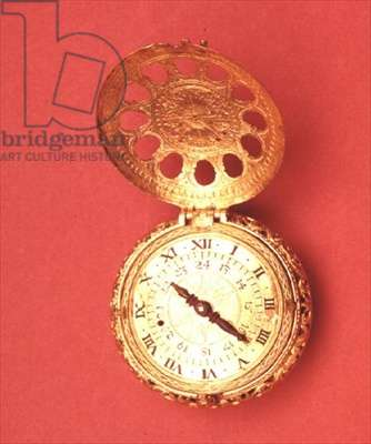 Pocket watch with verge escapement, gilded circular case, domed back and covers, and 24-hour dial, German, c.1600