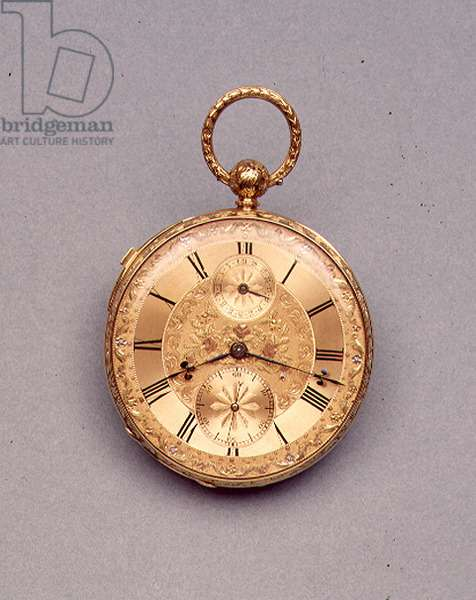 Pocket watch, engraved gold case with four-colour gold decoration on dial, made for the Great Exhibition of 1851, English, by Alexander Watkins, 1851 (see also 66872)