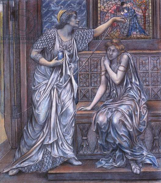Finished study for Queen Eleanor and Fair Rosamund, c.1900-5 (chalk) (see 27988)