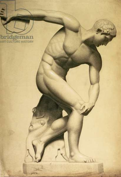 Discus thrower, drawing of a classical sculpture, c.1874 (pencil, crayon on paper)