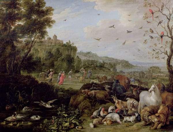 Noah entering the Ark (oil on canvas)