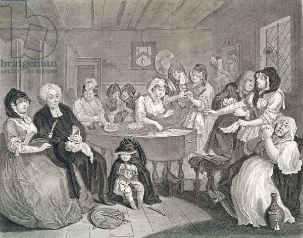A Harlot's Progress, Plate Six: The Funeral,  etching and engraving)