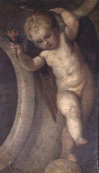Putto with a red flower (see also 67073)