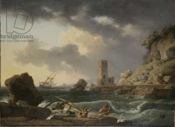 Rocky Coastal Landscape with Shipwreck, 1746 (oil on canvas)