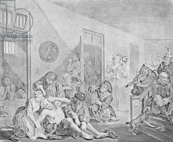 Scene in a Madhouse, from A Rake's Progress, 1735 (engraving) (see also 2005)