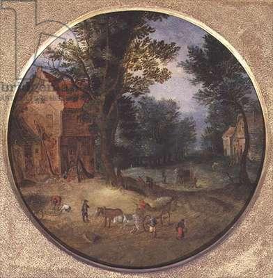 Flemish landscape with carts and figures (tondo, panel)
