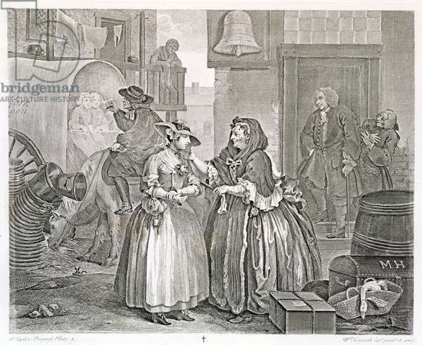 A Harlot's Progress, Plate One: Ensnared by a Procuress, 1732 (etching and engraving)