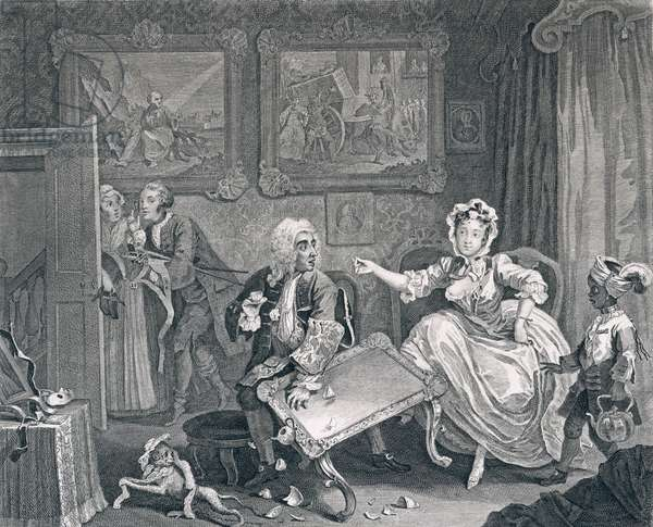 A Harlot's Progress, Plate Two: Quarrels with her Jew Protector, 1732 (etching and engraving)