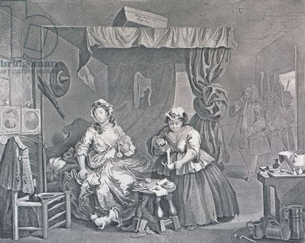 A Harlot's Progress, Plate Three: Apprehended by a Magistrate, 1732 (etching and engraving)