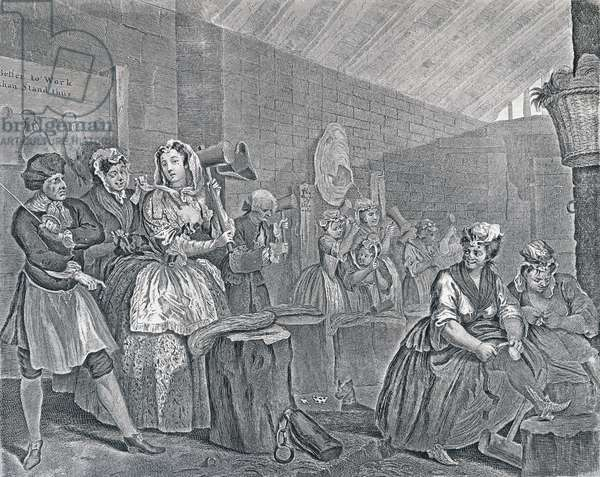 A Harlot's Progress, Plate Four: Scene in Bridewell, 1732 (etching and engraving)