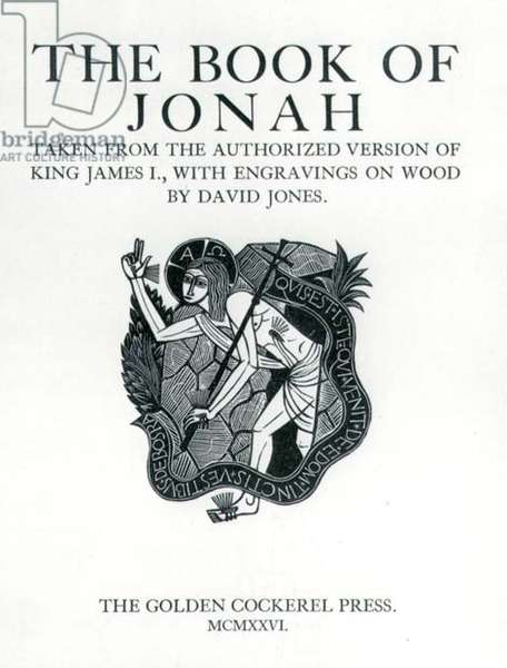 The Book of Jonah, titlepage, pub. by The Golden Cockerel Press, 1926 (wood engraving)
