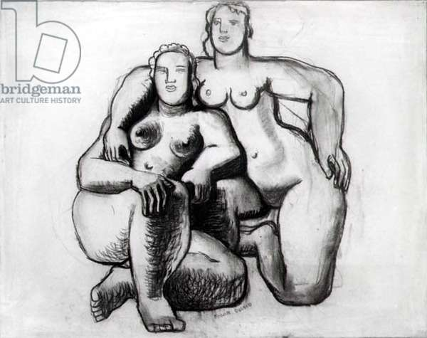 Study for 'Large Group' sculpture, 1940 (charcoal and chalk)
