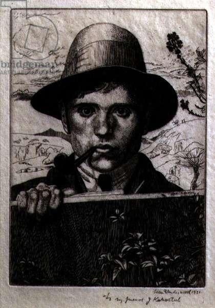 Self Portrait in a Landscape, 1921 (etching)