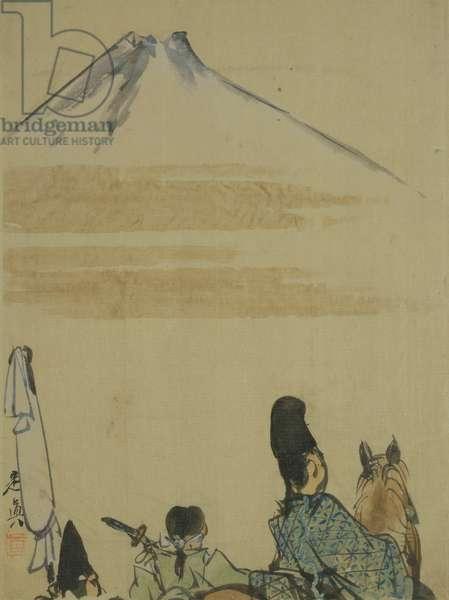 Travellers near Mount Fujiyama, c.1872 (ink & w/c on paper)