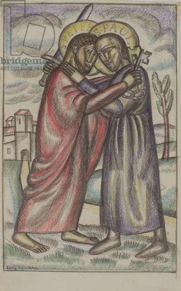 Saints Peter and Paul, 1923 (pencil & watercolour)