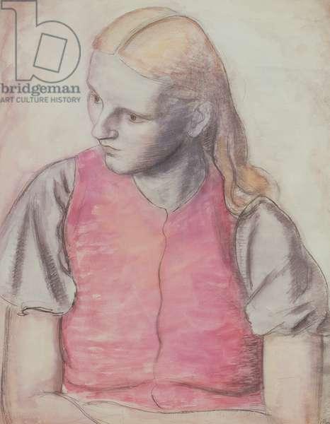 Portrait of the artist's wife, c.1926 (pencil & w/c)